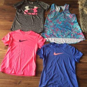 Girls M Athletic Tops Nike,UA,Ivivva size 8/10